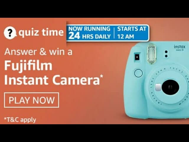 Amazon Quiz 8 April, 2021 Answers Win Amazing FujiFilm Instant Camera