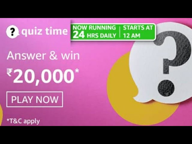Amazon Quiz 19 April, 2021 Answers: Win 20,000 Pay Balance